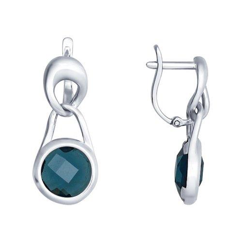 Серьги из серебра с синими стеклянными вставками (94021645) - фото