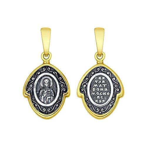 Иконка из серебра с ликом Святой блаженной Матроны Московской (95030143) - фото