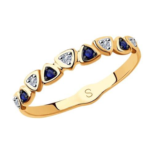 Кольцо из золота с бриллиантами и синими корунд (синт.) (6012155) - фото