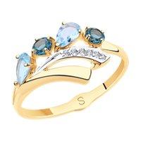 Кольцо из золота с голубыми и синими топазами и фианитами