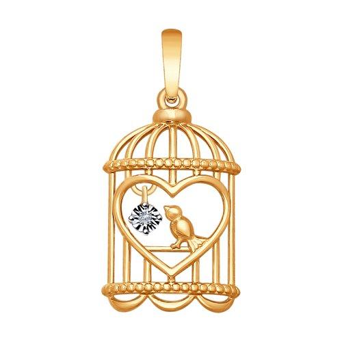 Подвеска из золота с бриллиантом «Птичка в клетке» цена
