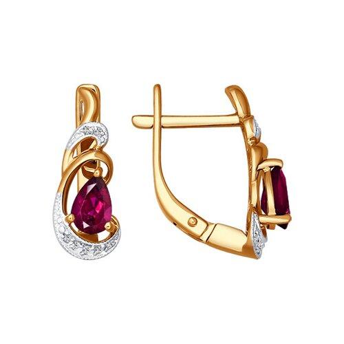 Серьги c грушевидным рубином и бриллиантами
