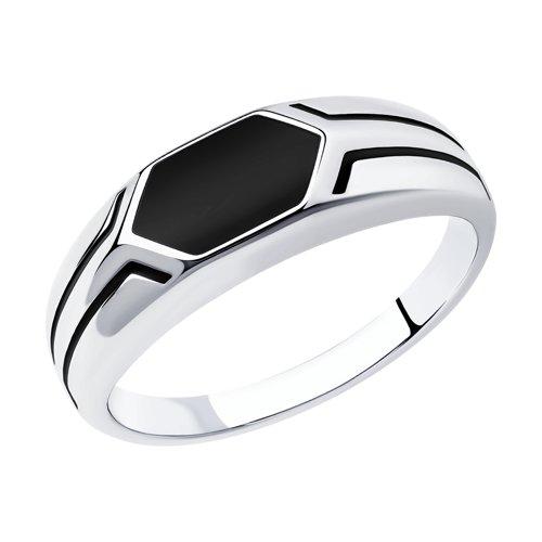Кольцо из серебра с эмалью (94012519) - фото