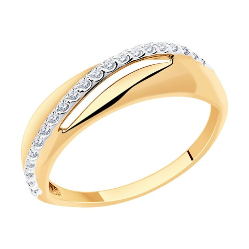 Кольцо из золота с фианитами 018613 sokolov фото