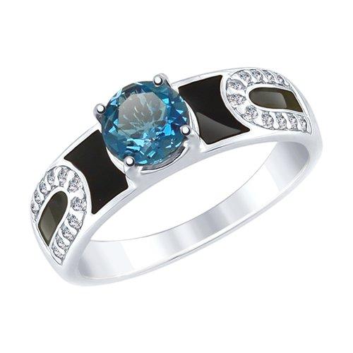 Кольцо из серебра с эмалью и синим топазом и фианитами (92011488) - фото