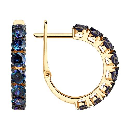 Серьги из золота с синими Swarovski Zirconia (81020451) - фото