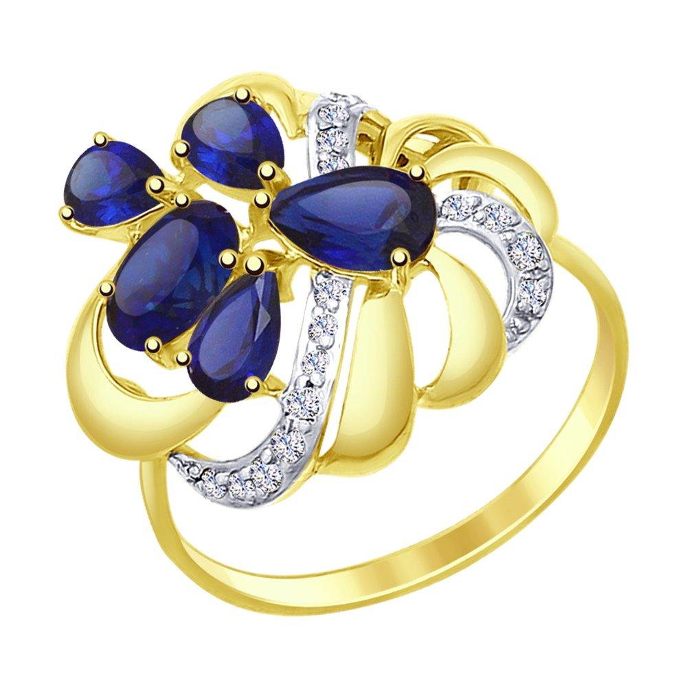 Фото - Кольцо SOKOLOV из желтого золота с синими корунд (синт.) и фианитами кольцо sokolov из желтого золота с синими корунд синт синим опалом и зелеными и синими фианитами
