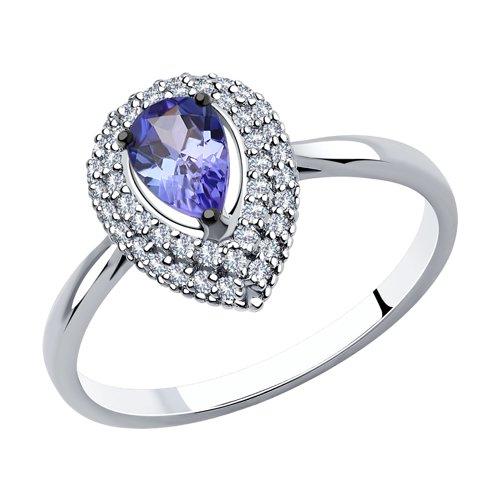 Кольцо из белого золота с бриллиантами и танзанитом (6014139) - фото