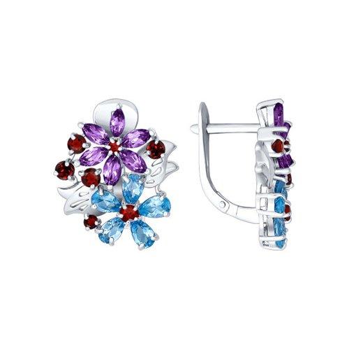Серьги с цветочной композицией SOKOLOV из полудрагоценных камней