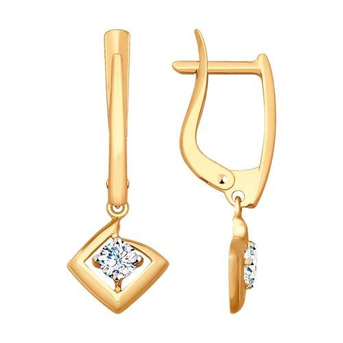 Серьги из золота с фианитами (027954) - фото