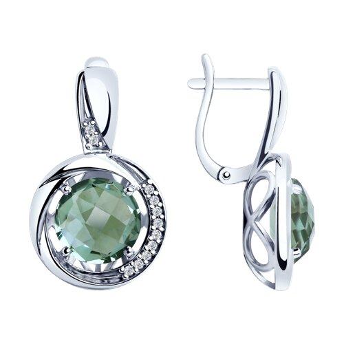 Серьги из серебра с кварцем и фианитами (92022057) - фото