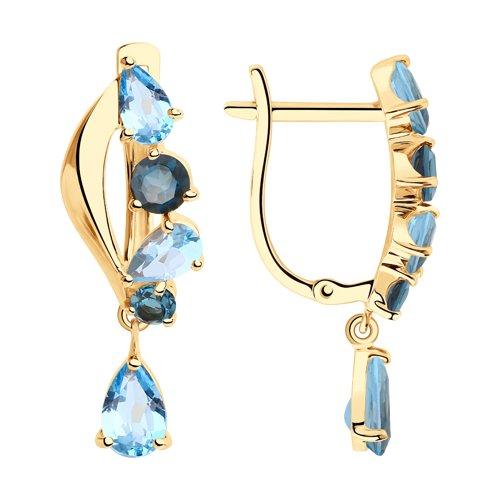 Серьги из золота с голубыми и синими топазами (725907) - фото