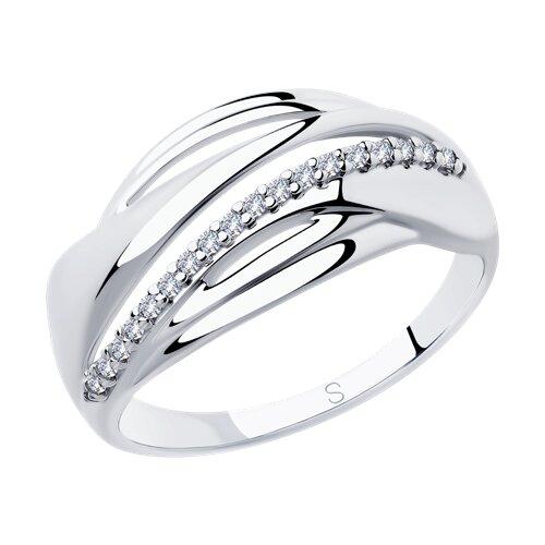 Кольцо из серебра с фианитами (94012888) - фото