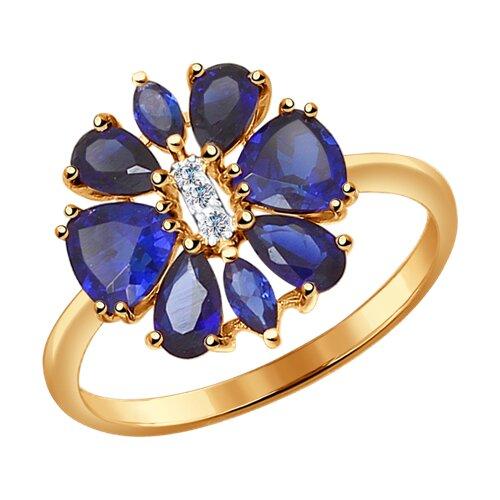 Кольцо из золота с синими корундами (синт.) и фианитами (37714307) - фото