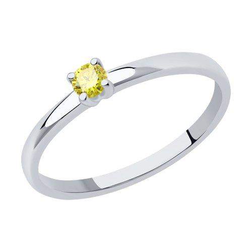 Кольцо из белого золота с искусственно выращенным бриллиантом