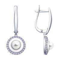 Серьги из серебра с эмалью и жемчугом и фианитами