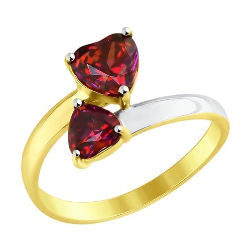 Кольцо из желтого золота с красными Swarovski Zirconia