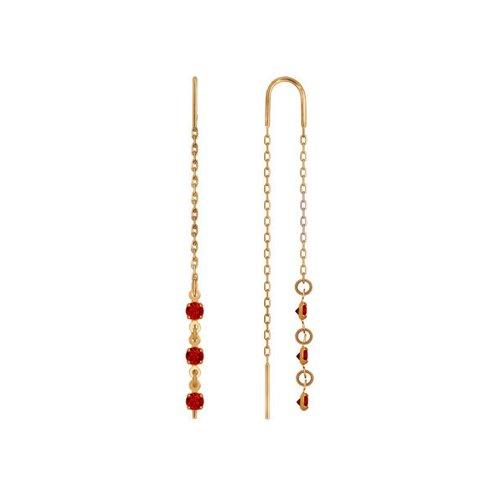 цена на Серьги-цепочки SOKOLOV из золота с красными фианитами
