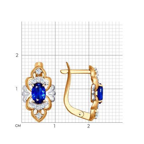 Серьги из золота с бесцветными и синими фианитами (027575) - фото №2