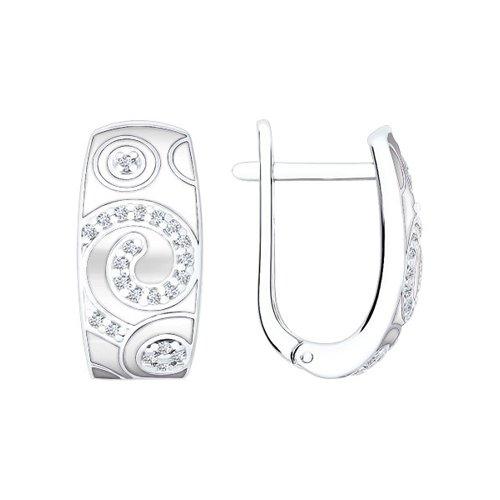 Серьги SOKOLOV из серебра с эмалью с фианитами фото