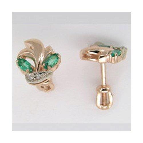 Серьги SOKOLOV из комбинированного золота с бриллиантами и изумрудами серьги sokolov из комбинированного золота с бриллиантами и изумрудами