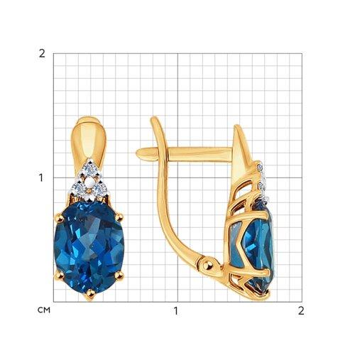 Серьги из золота с бриллиантами и топазами (6024038) - фото №2