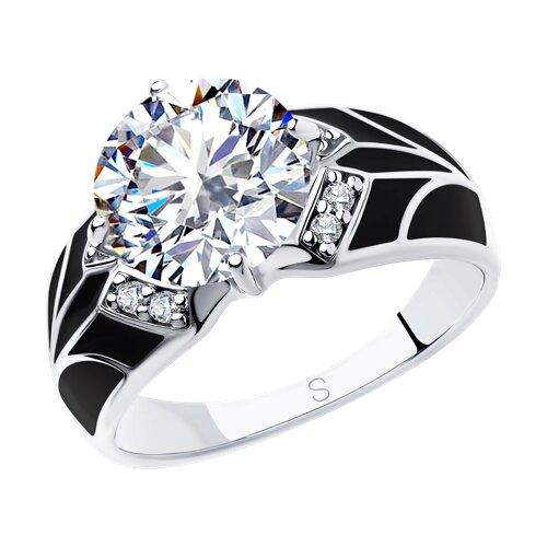 Кольцо из серебра с эмалью и фианитами (94012927) - фото