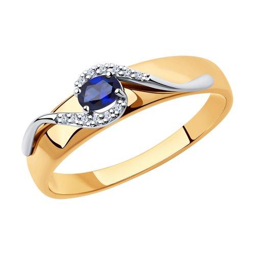 Кольцо SOKOLOV из комбинированного золота с бриллиантами и сапфиром фото