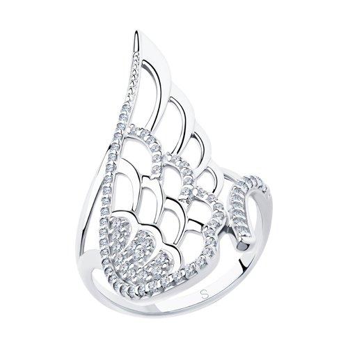 Кольцо из серебра с фианитами (94013036) - фото