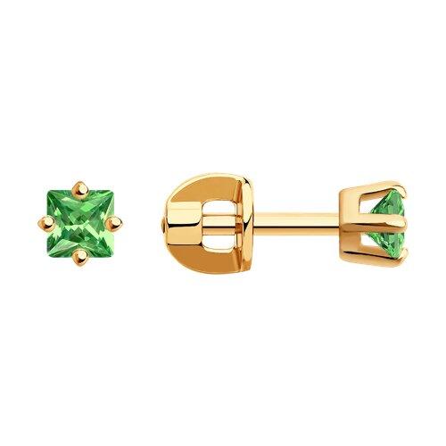 Серьги-пусеты из золота с зелеными фианитами (022172) - фото