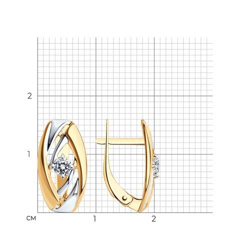 Серьги из золота с фианитами (027253) - фото №2
