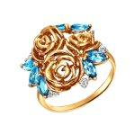 Кольцо из золота с топазами и фианитами «Розы»