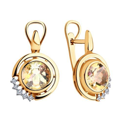 Серьги из золота с бриллиантами и морганитами (6024108) - фото №2