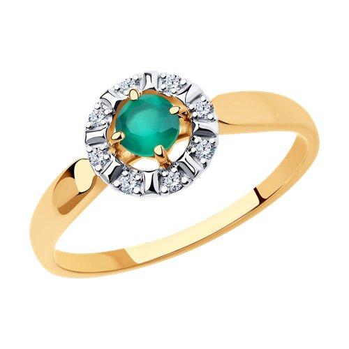 Кольцо из золота с агатом и фианитами (715520) - фото