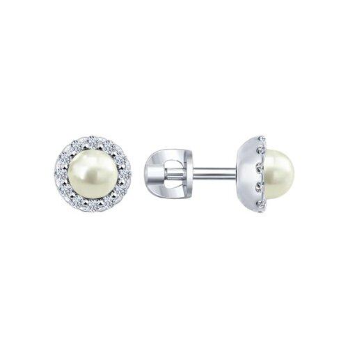 Серьги-пусеты из серебра с жемчугом и фианитами (94021962) - фото