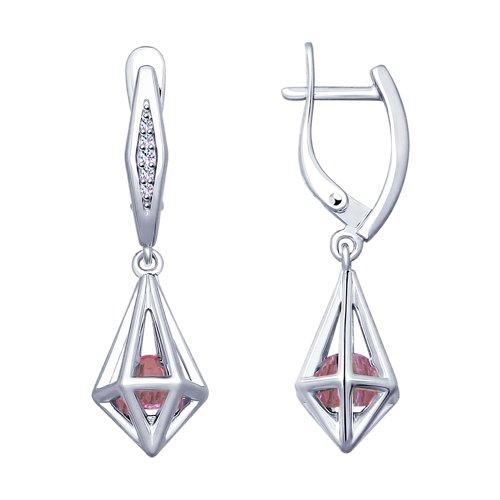 Серьги из серебра с сиреневыми кристаллами Swarovski и фианитами (94022954) - фото