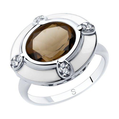 Кольцо из серебра с эмалью и раухтопазом и фианитами