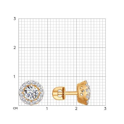 Серьги-пусеты из золота со Swarovski Zirconia (81020202) - фото №2