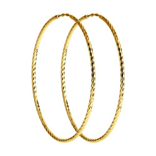 Серьги из желтого золота с алмазной гранью (140148-2) - фото