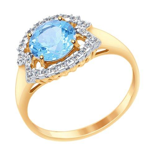 Кольцо из золота с топазом и фианитами (37714980) - фото