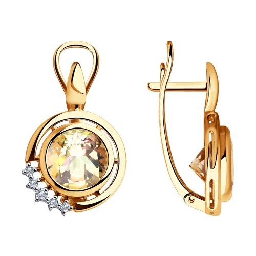 Серьги из золота с бриллиантами и морганитами (6024108) - фото