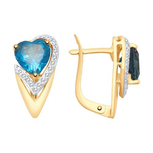 Серьги из золота с синими топазами и фианитами (37725394) - фото