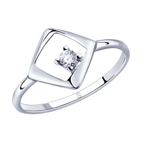 Кольцо из серебра с фианитом (94012807) - фото