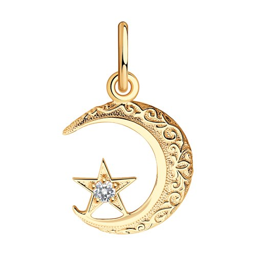 Подвеска мусульманская из золота с фианитом (030052) - фото