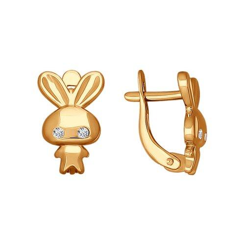 Серьги из золота в виде зайца с фианитами (026547) - фото