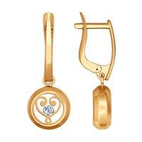 Серьги из золота с минеральным стеклом и фианитами