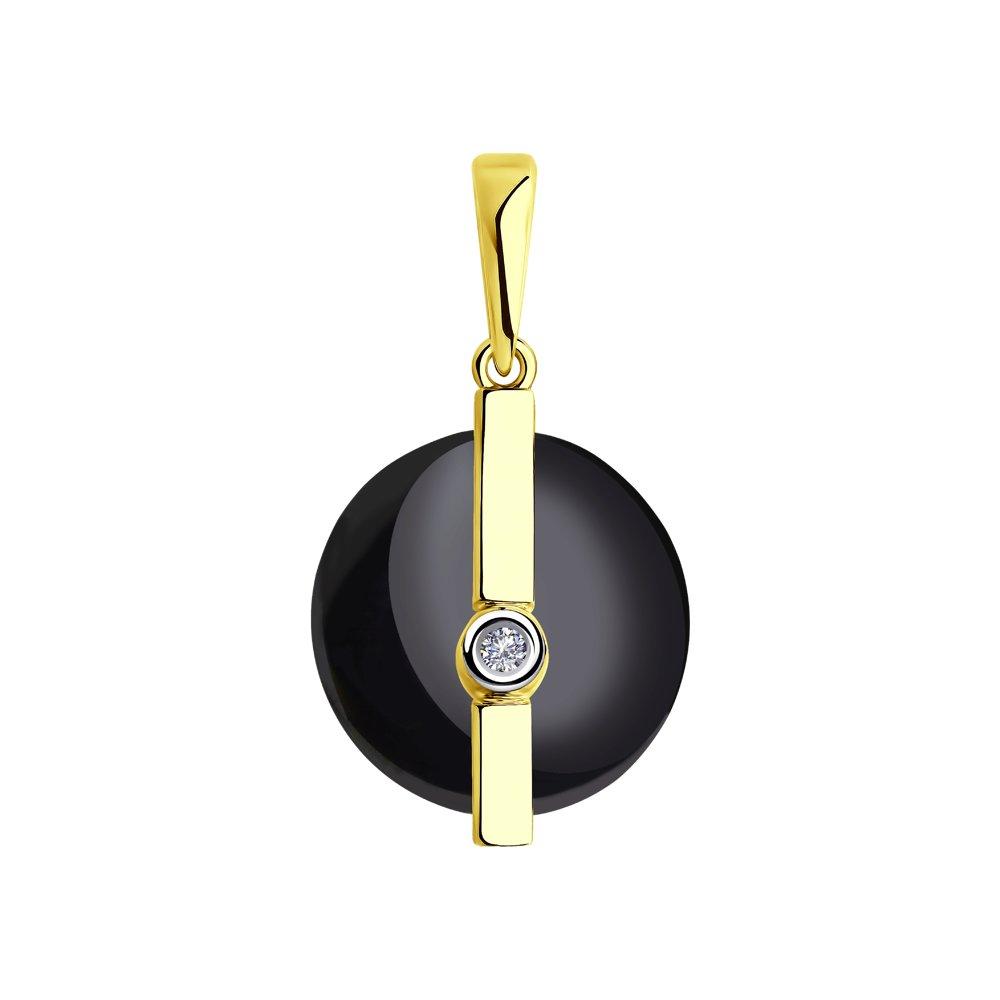Фото - Подвеска SOKOLOV из желтого золота с бриллиантом и чёрным керамической вставкой подвеска sokolov из желтого золота с бриллиантом