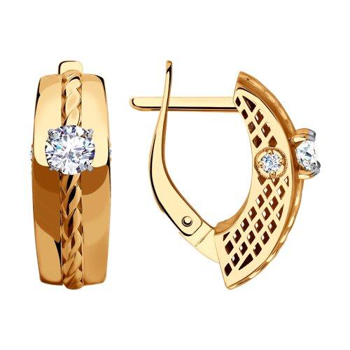 Серьги из золота с фианитами (028479) - фото