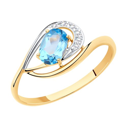 Кольцо из золота с топазом и  (715951) - фото