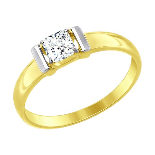Кольцо из желтого золота со Сваровски